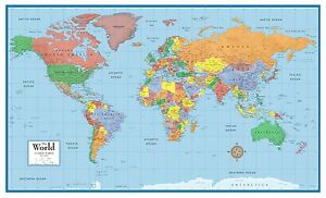 World-Classic-Elite-Wall-Map-Mural-Poster-Paper-Laminated-Framed