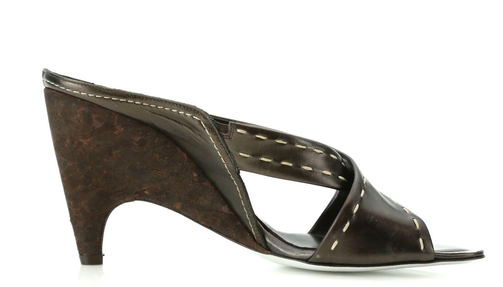 Donald J Pliner NIDRA Braun Größe Leder Wedge Sandales 7258 Größe Braun 8.5 M NEW 3901b2