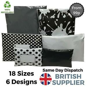Plastic-Poly-Mailing-Postage-Packaging-Recyclable-Coloured-Bags-Grey-Black-White