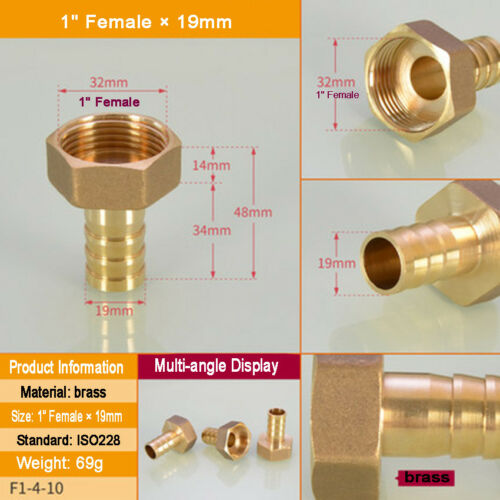 """1//8/""""-1/"""" BSP Brass Taper Female Thread × Barbed Hose Tail End Connector Fitting"""