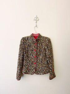 Armani-Collezioni-1990s-Wool-Blend-Boucle-Blazer-Womens-Size-2