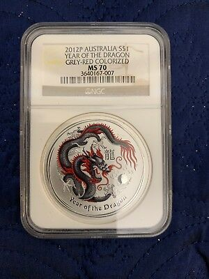 2012 P $1 NGC MS70 COLORIZED AUSTRALIA LUNAR YEAR OF THE DRAGON 1 OZ SILVER RED