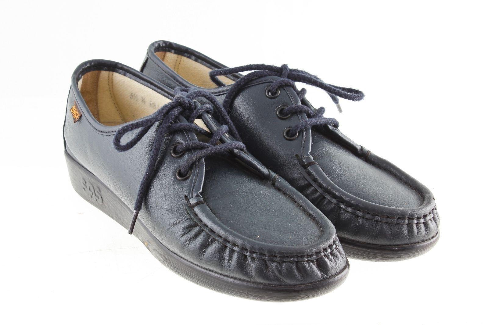 SAS Siesta Negro Cuero Oxford Zapatos Mujer Mujer Mujer 5.5 M Con Cordones cosida a mano Hecho en EE. UU.  el estilo clásico