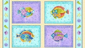 Fabric-Beach-Seaside-Tropical-Beach-Fish-Squares-on-Aqua-Cotton-Panel-24-034-X44-034