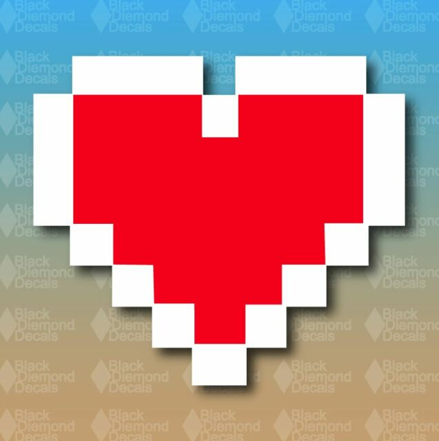 """Zelda 8 Bit Heart Life Nerd 5"""" Custom Vinyl Decal Sticker"""