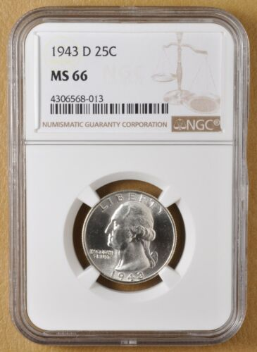 1943 D Washington Silver Quarter NGC MS66