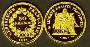 COPIE-PLAQUeE-OR-DE-L-039-ESSAI-OR-50-FRANCS-1974