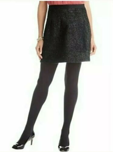 Ann Taylor Loft Black Metallic Tweed Skirt Sz L