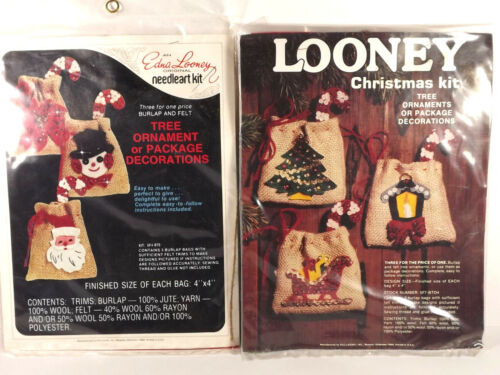 Looney Christmas 2 Country Ornament Kits Burlap Felt Applique Sealed 4x4 Inches