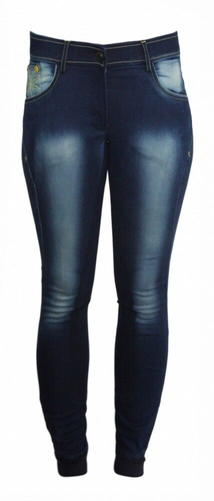 Donna Pantaloni Montala guarnizione in pieno Flash Jeggings HKM Pro Team JEANS BLU div. dimensioni