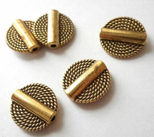10pcs-Brass coin beads antique bronze tone coin beads