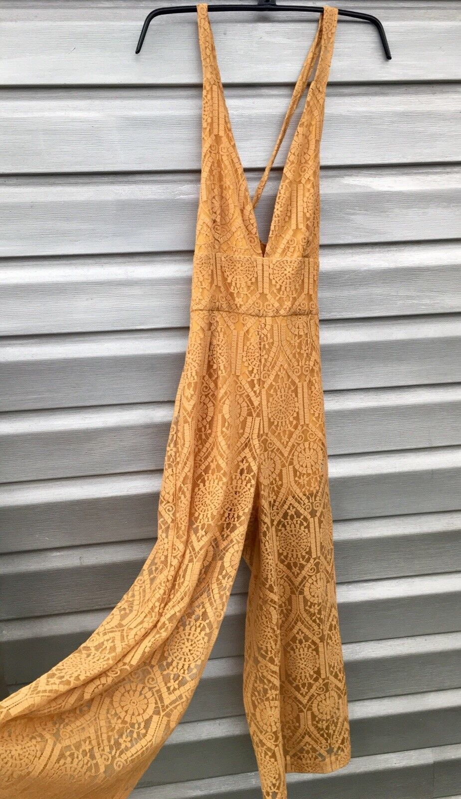 MINKPINK Desert Sunset Lace Mustard Yellow Crop Wide Leg Romper Jumpsuit