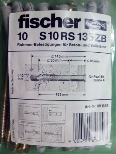 Restposten Fischer Rahmendübel Befestigung S 10 RS 135 Langdübel 50 Stk Rahmen