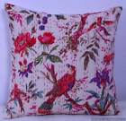 INDIAN BIRD FLORAL HANDMADE PILLOW CUSHION COVER THROW Ethnic Kantha Decor 16""