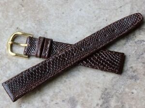 Dark-brown-radiating-scales-Genuine-Lizard-16mm-vintage-watch-band-NOS-1960s-70s