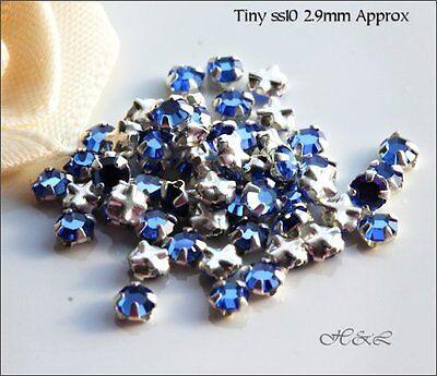 30 Swarovski ss12 Lt Blue Sapphire Vintage Rose Montees Sew On Crystals 12ss