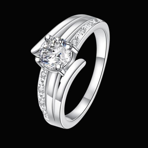 Anillo plata PL anillo de plata blanco 7 circonita compromiso amor corazón amistad