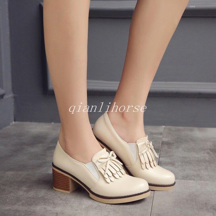 Tassel Slip On Roman Womens Round Toe Blokc Mid Heel  Dress shoes Plus Size