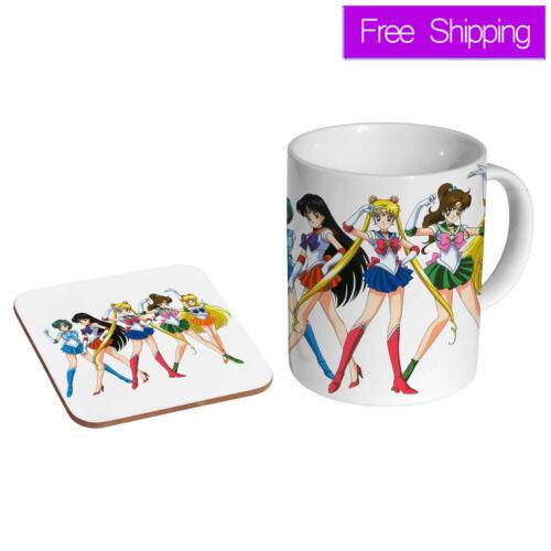 Sailor Moon Manga Anime Filles en Céramique Thé Mug Café Coaster Ensemble Cadeau