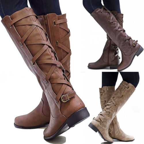 Womens Ladies Thigh High Over The Knee Boots Long Stretch Lace Up Shoes Size 6