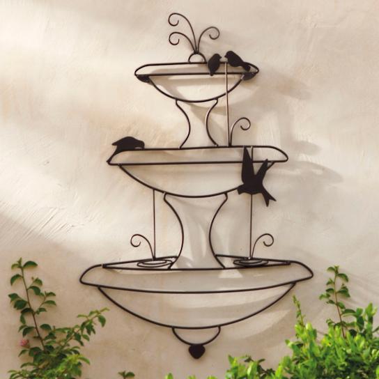 XL FRENCH WALL ART plaque back yard DECOR fountain  1m high  NEW black finish