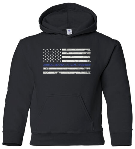 Thank You for Keeping Me Safe Youth Hoodie Sweatshirt Police Blue Line Flag