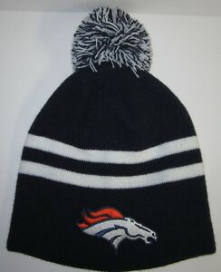 797bf712d9b Denver Broncos Pom Pom Beanie ~Knit Cap ~Hat ~Classic NFL Patch Logo ...