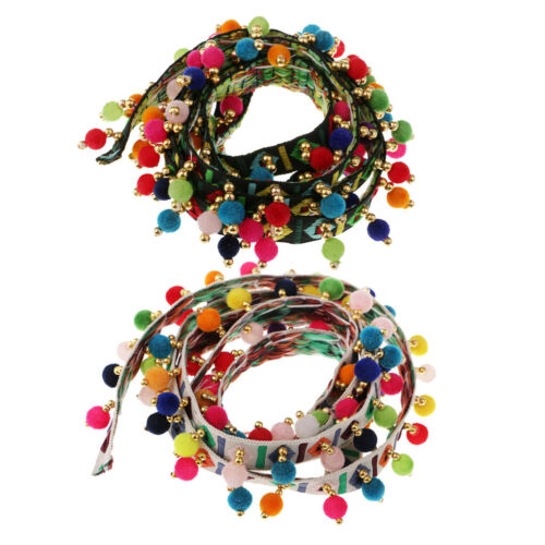2pcs Pompon Ball Beads Tassel Lace Trimming Ribbon Handmade Sewing Accessory