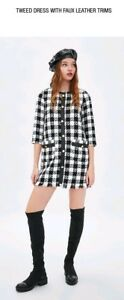 Zara Tweed Dress  With Faux Leather Trims Checks Black White 7385/321 Small by Ebay Seller