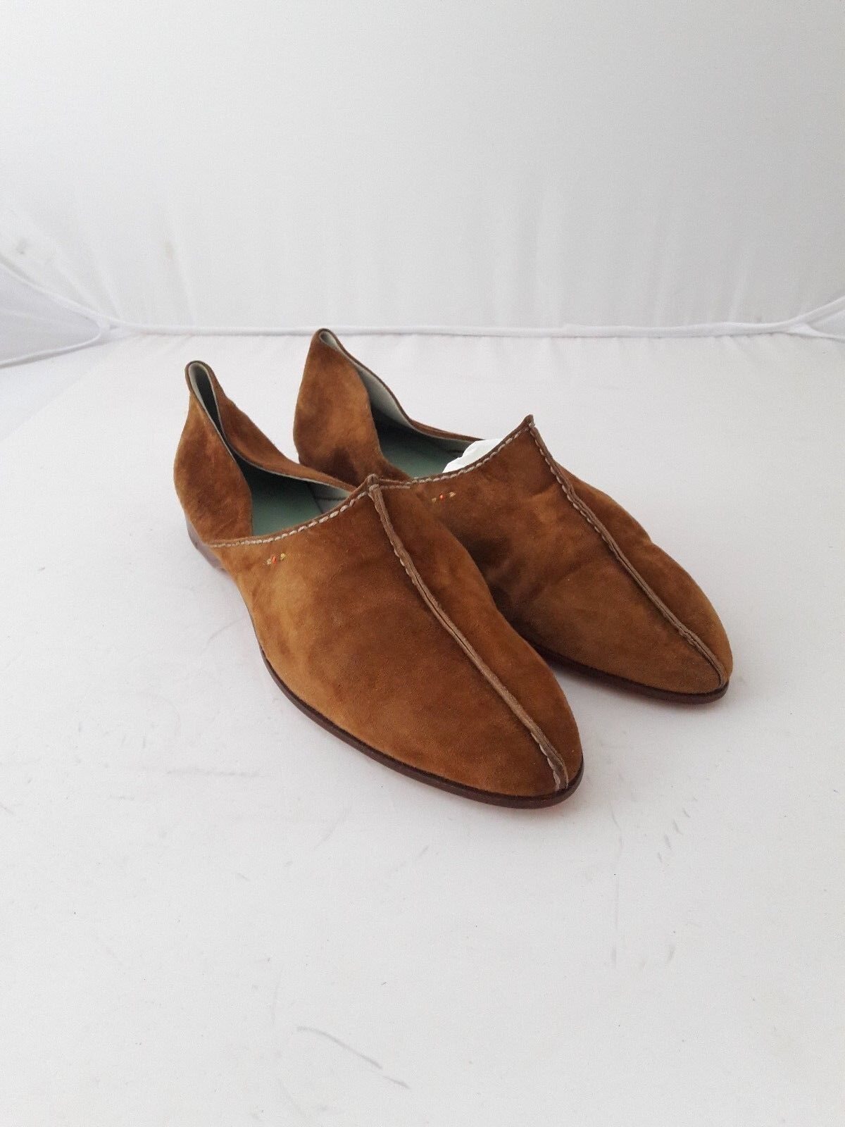 Henry cuir en Daim Marron Plates Chaussures Taille 37.5
