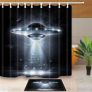 180X180CM-UFO-Waterproof-polyester-Shower-Curtain-with-hooks-set-Bathroom-mat