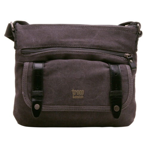 Troop Londra-Black Canvas Classic in corpo//Messenger Bag con finiture in pelle