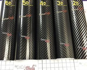 2D-3D-4D-Noir-sans-bulles-fibre-de-carbone-vinyle-wrap-film-feuilles-d-039-autocollants