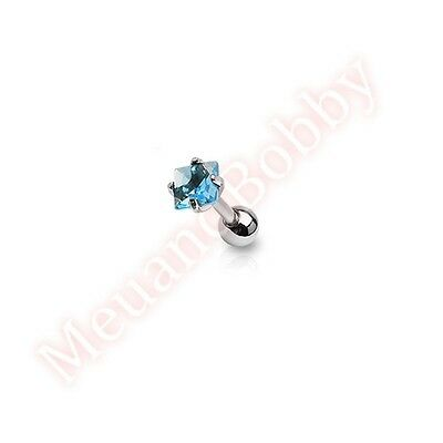 316L Surgical Steel Square CZ Prong Set Tragus Cartilage Ear Ring Piercing Stud