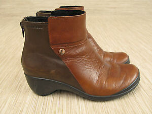 460ef73faae Merrell Two Tone Brown Leather Wedge Boots Women s Size US 6 EUR 36 ...