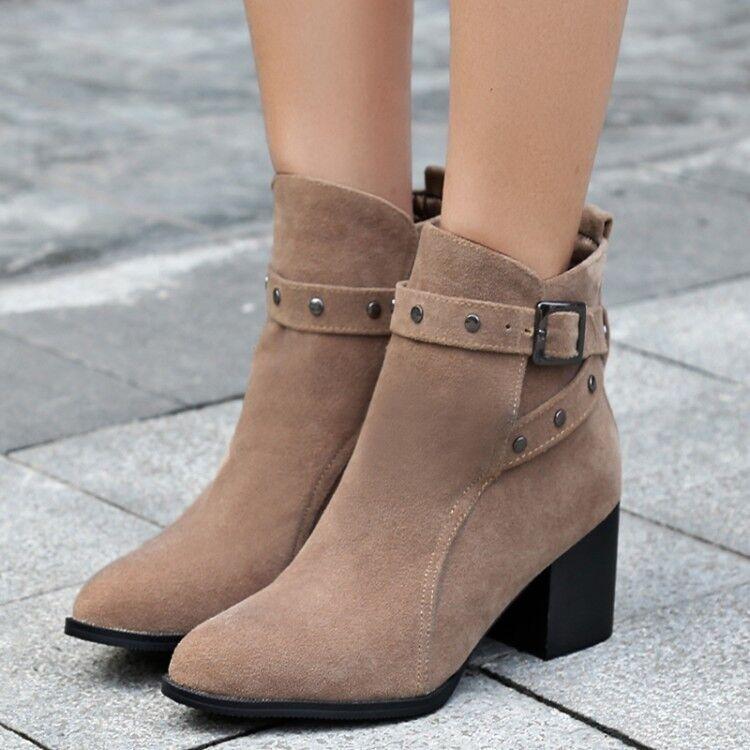 Mujeres remache Bloque Grueso talón botas al Tobillo Zapatos Imitación Gamuza Puntera en Punta Zapatos
