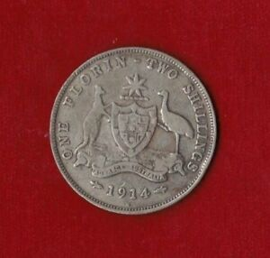 1914-Australia-H-Florin-Two-Shillings-Very-Good