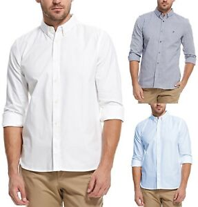 French-Connection-da-Uomo-Manica-Lunga-Camicia-Oxford-Regular-Tinta-Unita