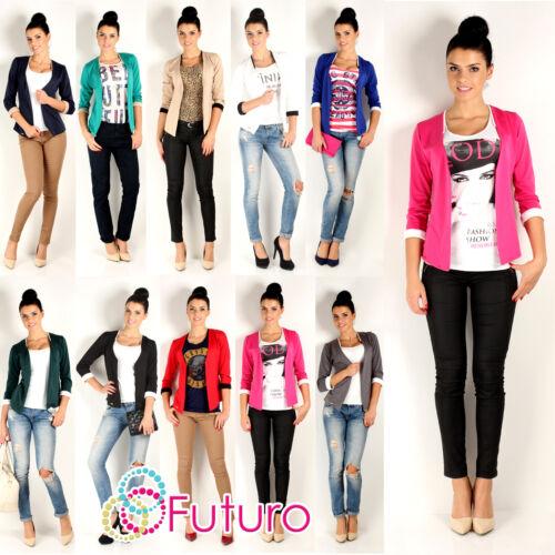 Elegance Women/'s Open Front Cuff Jacket Blazer Long Sleeve Size 8-12 FA235