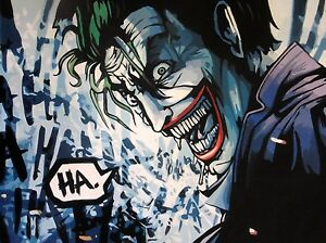 Batman 28x16 oil painting Framing avail.Batman Dark Knight Bane Joker Gotham