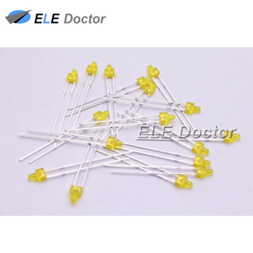 1000pcs 2mm Diffused Yellow-Yellow Light DIP Round Top LED Diodes 8000Mcd