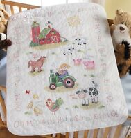 Bucilla On The Farm Crib Cover Stamped Cross Stitch Kit-34x43 , New, Free Ship on sale