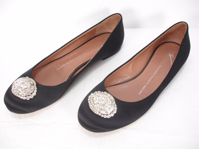 GIUSEPPE ZANOTTI BLACK SATIN CRYSTAL JEWELS SLIP ON FLATS SHOES WOMEN'S 7.5 B