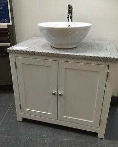White Granite Top Painted Vanity Unit 800mm Wide Bathroom