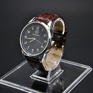 Mercedes-Benz-Mens-Watch-Stainless-Steel-Brown-Leather-Strap-Black-Face-UK