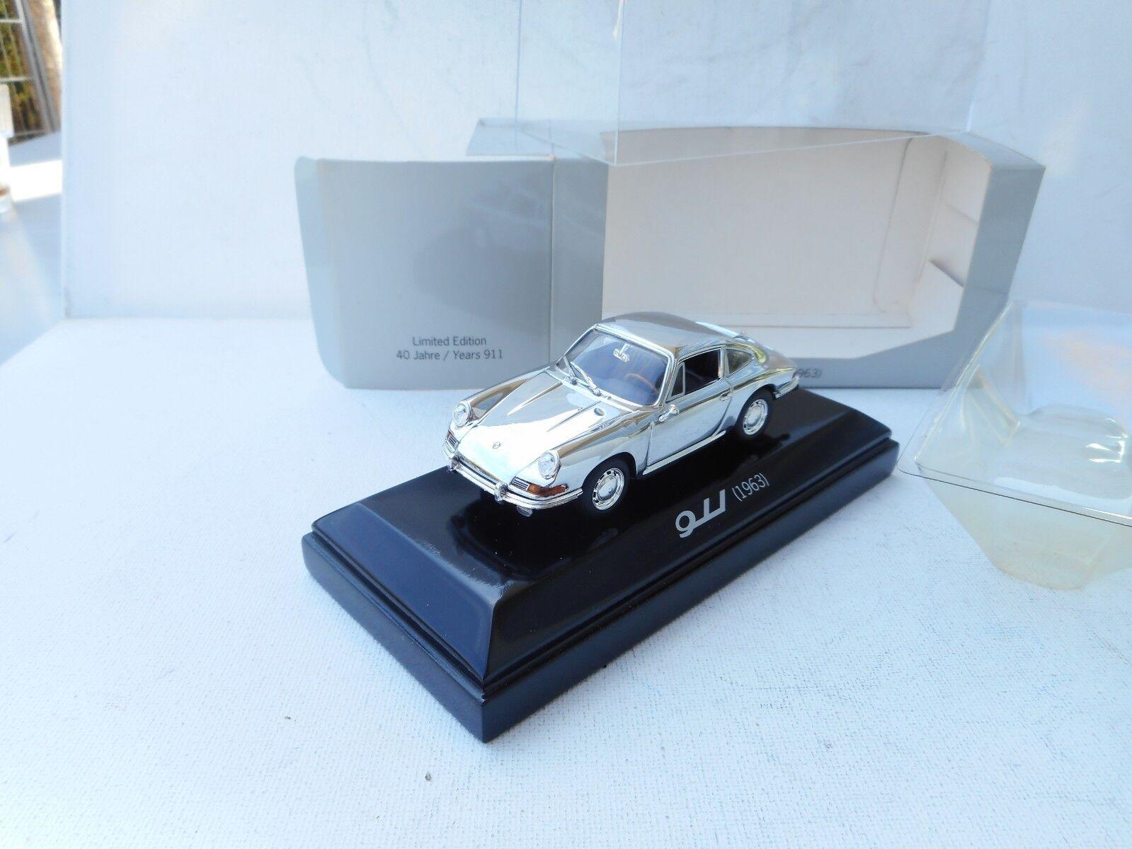 Rare Porsche Dealer 911 Coupe from 1963 in Chrome. Minichamps 1 43 Diecast NEW
