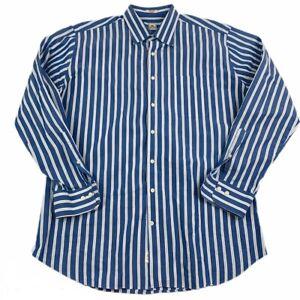 Peter-Millar-Men-039-s-Sz-XL-Long-Sleeve-Button-Down-Cotton-Shirt-Blue-White-Striped