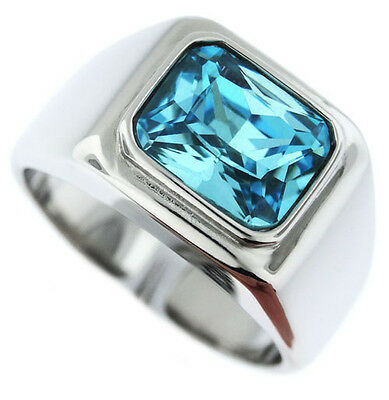 Aqua Marine Solitaire Silver Stainless Steel Mens Ring