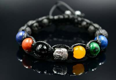 Edelstein Herren Armband Rutilquarz Achat Lava Naturstein Bracelet Armreif