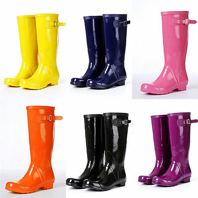 New Women's Sweet Waterproof Shoes Candy Color Wellies Rubber Rain Boots Shoes